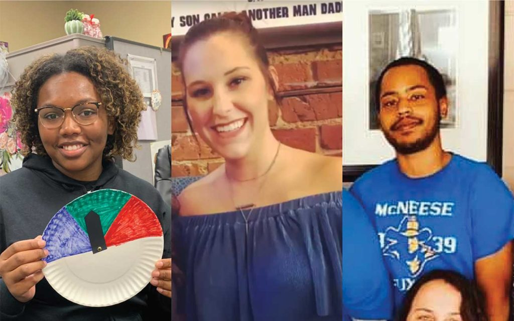 Headshots of Brittany Thomas, Mika Cormier and DeAndre John