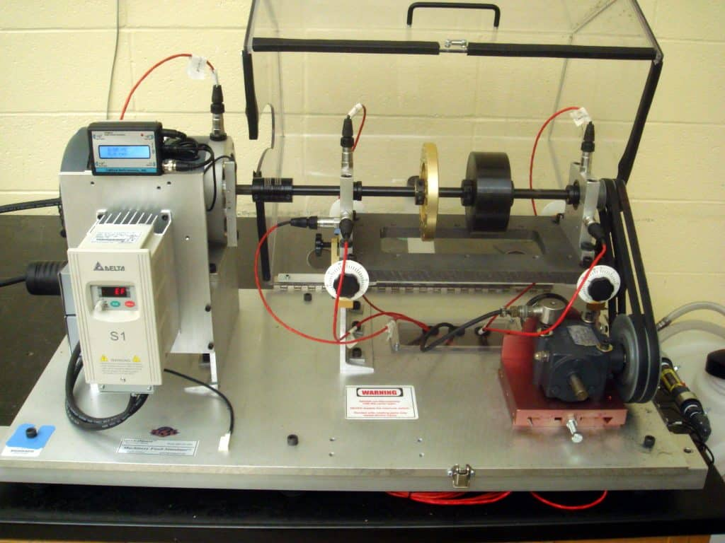 Rotating Machinery Fault Simulator with Dry Bearings