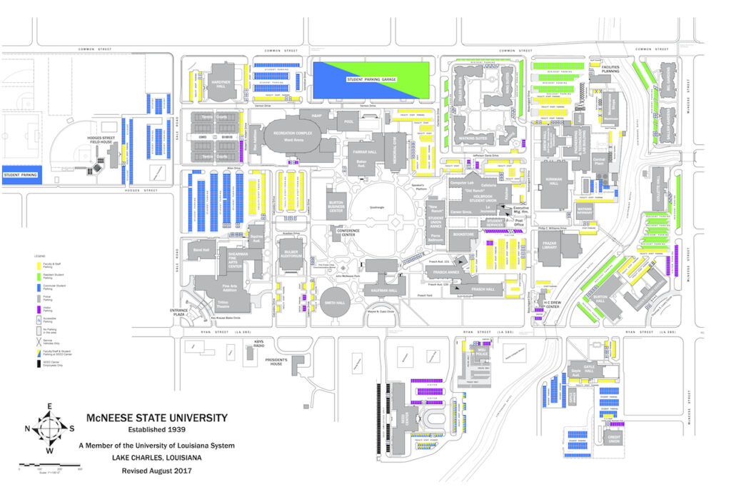 Map of parking locations on main campus