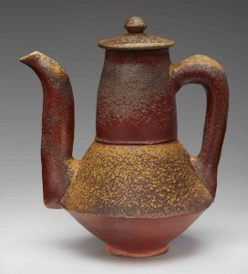 Bronze ceramic pot with handle and spout