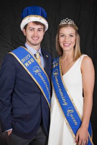 Keifer Ackley and Natalie Breaux with homecoming sash and crowns