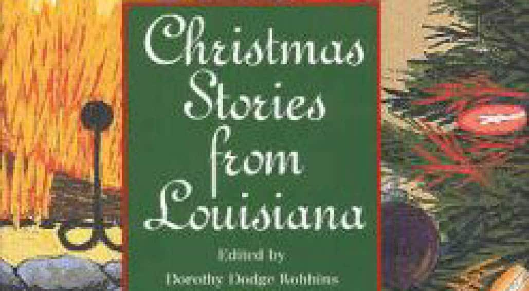 Close up of book cover and title of Christmas Stories from Louisiana