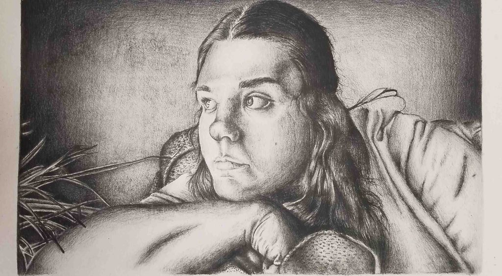 A young person stares to the left while deep in thought in this lithograph
