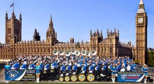 McNeese Band stands in front of Big Ben and Parliament in London.