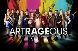 The members of Artrageous stand in front of a colorful background