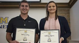 Haden Cooley and Bethany Lejeune are first place winner and runner up as the 2018 Janet Delaine Student Employee of the Year at McNeese.