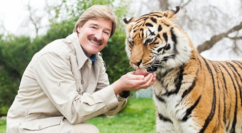 Peter Gros smiles at the camera while feeding a tiger.