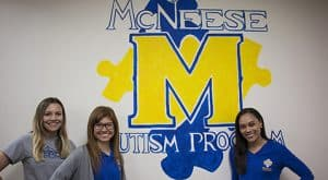 Kylie Hernandez, Linda Johnson and Jasmine Mitchell are all interns with the McNeese Autism Program