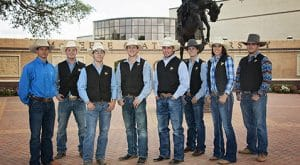 The rodeo team stands at the entrance plaza. The team will represent McNeese at the 70th College National Finals Rodeo.