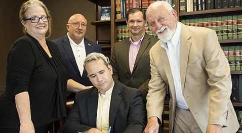 Wanda N. Borel, Lee Berwick Foundation representative; Dr. Mitchell Adrian, McNeese provost and vice president for academic affairs and enrollment management; Dr. Chip LeMieux, school director and associate dean of the College of Science and Agriculture; and Richard Reid, vice president for university advancement and executive vice president of the McNeese Foundation; and seated, Edwin Ford Hunter III, Lee Berwick Foundation representative.