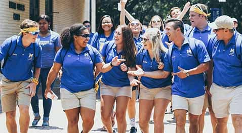 Blue and Gold Peerleders lead the way for an exciting campus tour.
