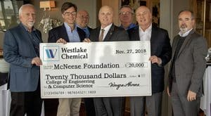 Wayne Ahrens, Westlake Chemical vice president, Operations Region 1; Curtis Brescher, Westlake Chemical plant manager, North and South Plants; Dr. Mitchell Adrian, McNeese provost and vice president for academic affairs and enrollment management; McNeese President Dr. Daryl Burckel; Steve Jones, Westlake Chemical human resource manager, Region 1; Joe Andrepont, Westlake Chemical principal, community and governmental affairs; and Dr. Nikos Kiritsis, college dean.