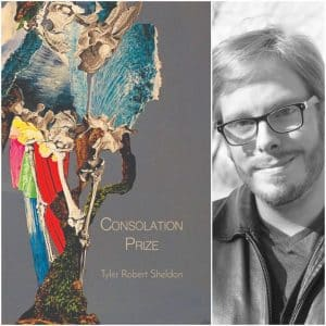 """Consolation Prize"" book cover and Sheldon Tyler Robert black and white profile photo."