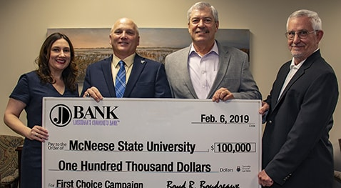 Ann Barilleaux, JD Bank vice president marketing director, McNeese President Dr. Daryl V. Burckel, Boyd R. Boudreaux, JD Bank president and CEO, and Dan L. Donald Jr., JD Bank chairman of the board