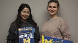 Farmina Islam, left, an engineering major, and Michelle Andrepont, a health and human performance major, are both Horatio Alger William J. Doré Louisiana Scholarship recipients at McNeese State University