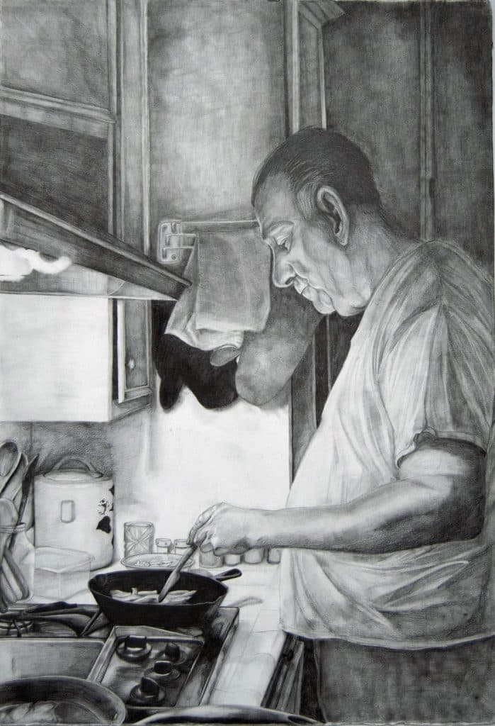 Moments by Vizena. A man stands at a stove cooking with a frying pan.