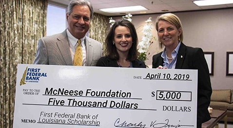 Charles V. Timpa, president and CEO of First Federal Bank, Jennifer Leger, planned giving and donor research specialist with the foundation, and Julie M. Miller, vice president and marketing manager of First Federal Bank.