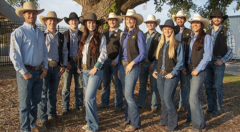 Rodeo team members and coach representing McNeese State University at the 71st College National Finals Rodeo June 10-15 in Casper, Wyoming, are from left: rodeo coach Justin Browning, Lathan Lyons, Waylon Bourgeois, Grace Ann Hanley, Gabe Soileau, Kati Murphy, Ryder Sanford, Ashleigh Young, Will Heinen, Mia Manzanares and Sandro Ferretti.