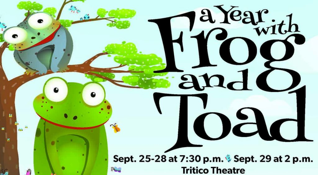 Poster with two frogs sitting in a tree.