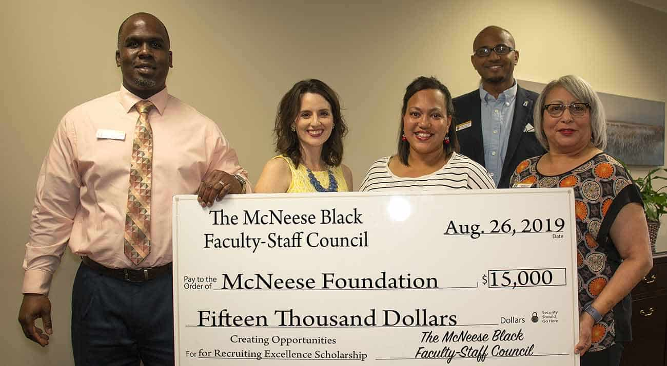 Kedrick Nicholas, dean of students, Jennifer Leger, planned giving and donor research specialist with the foundation, Robin Semien, assistant registrar, Ryan Preatto, director of student activities and cultural engagement and Janise Lewis, accounting specialist 2. McNeese Photo