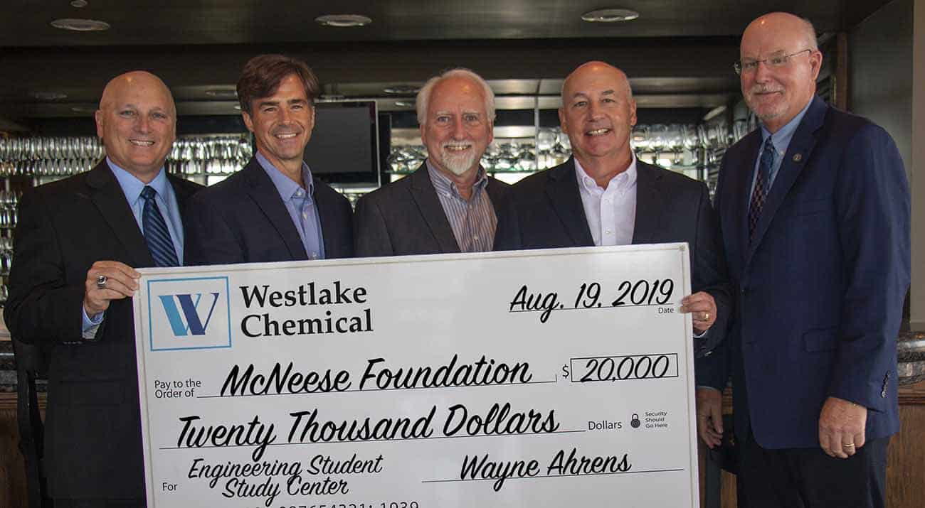 On hand for the donation are, from left: Dr. Daryl Burckel, McNeese president, Curtis Brescher, Westlake Chemical north and south plants manager, Wayne Ahrens, Region 1 vice president for Westlake Chemical and executive vice president for Lotte Chemical, Joe Andrepont, Westlake Chemical community and governmental affairs principal, and Dr. Tim Hall, college dean. McNeese Photo