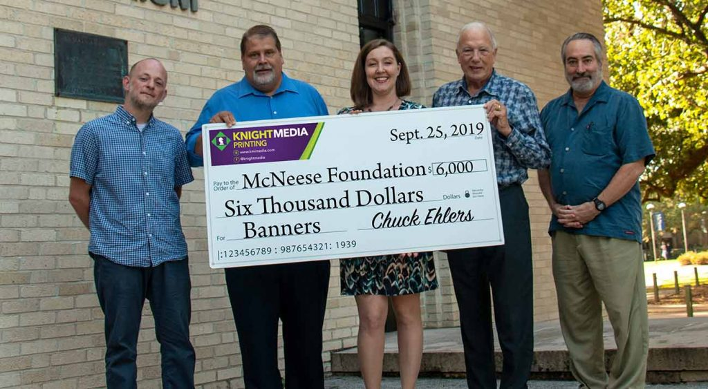 Jody Taylor, Assistant Director of Banners, Allen Jarvis, Chief Financial Officer for KMI, Brooke Hanemann, Director of Banners, Chuck Ehlers, President and CEO of KMI, and Greg Leute, Outreach and Operations Specialist for Banners.