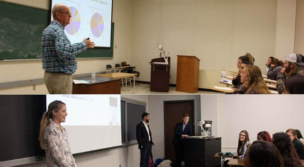 Various guests visited the College of Business to talk with students in the classroom.