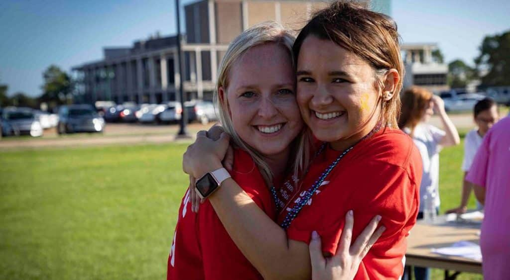 Caitlyn Kudrecki, left, and Caitlin Burcham, right, are graduate interns with the Kay Doré Counseling Center at McNeese State University