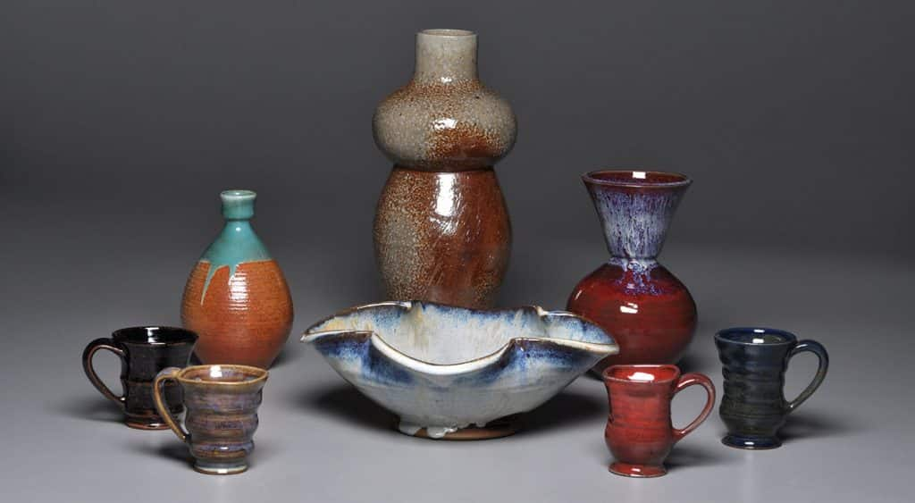 A selection of ceramic vases are displayed