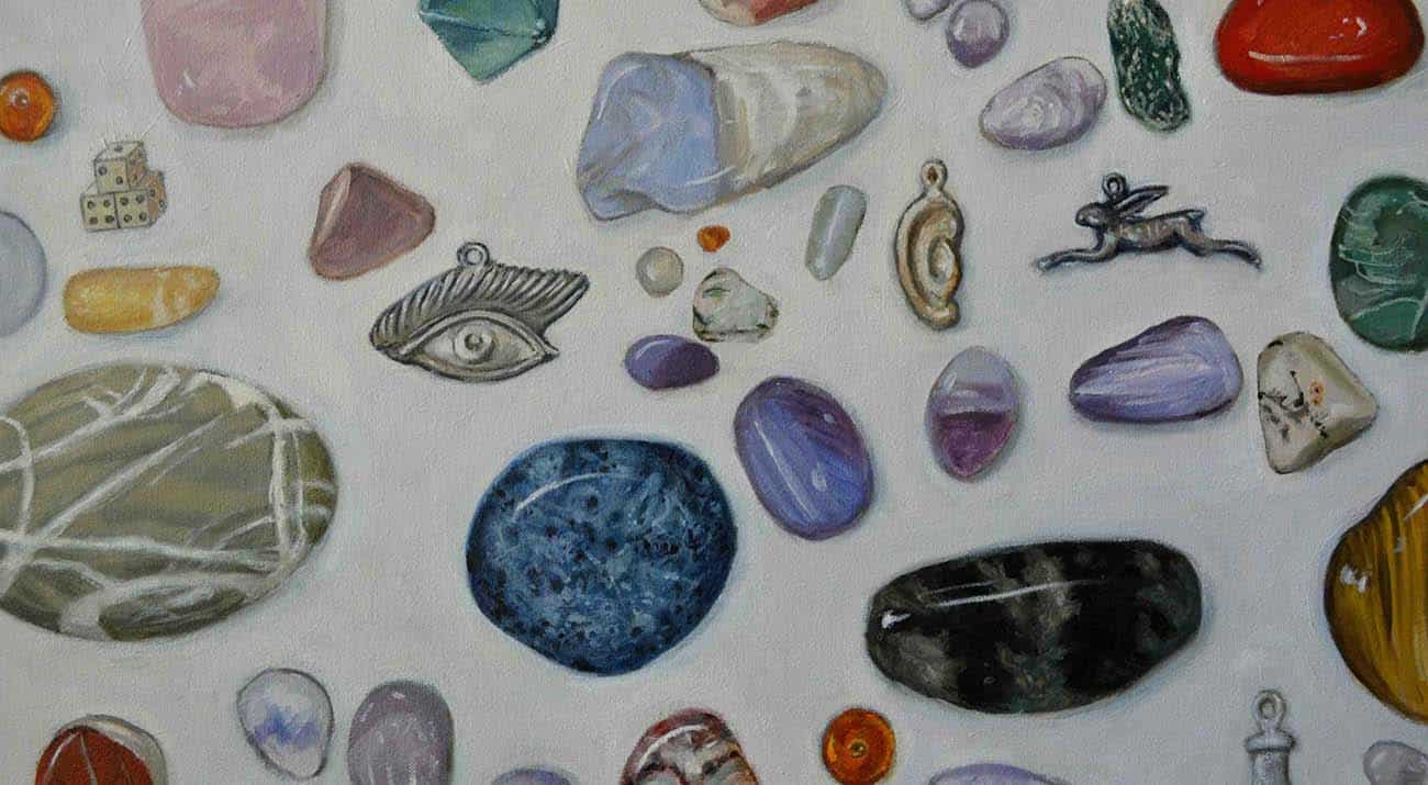 A close up of the stones in Heather Ryan Kelley's piece Augur
