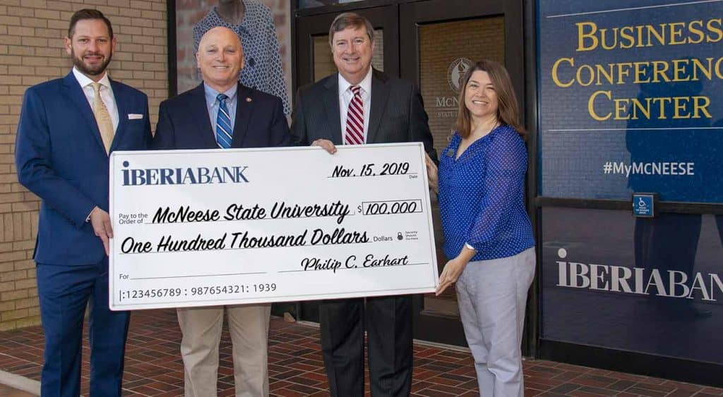 Steven Perez, IBERIABANK vice president/commercial relationship manager, Dr. Daryl Burckel, McNeese State University president, Philip Earhart, IBERIABANK Southwest Louisiana president, and Janet Melton, IBERIABANK retail support specialist.
