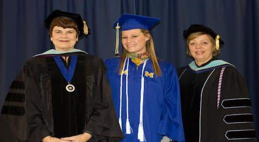Lola Grichendler stands with Dr. Peggy Wolfe, and Dr. Amy Bufford of McNeese.