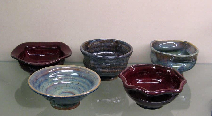 Five hand made ceramic bowls