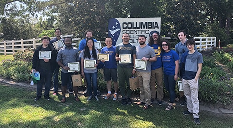 Engineering and computer science majors outside of the Columbia Scientific Balloon Center in Palestine, Texas.