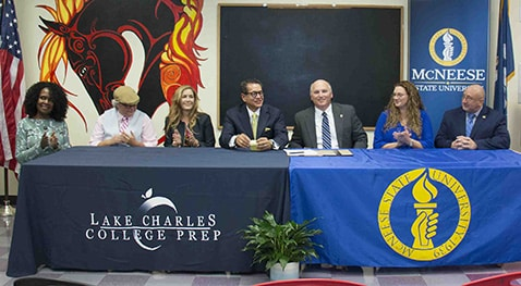 Faculty members of LCCP and McNeese announce a new partnership to provide educational programs and services.