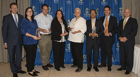 L'Auberge Casino Resort Vice President and General Manager Michael K. Pendergast; Dr. Nidal Daou, Burton College of Education; Dr. Derek D. Bussan, College of Science and Agriculture; Jennifer Barrow, College of Nursing and Health Professions; Dr. Catherine Anderson, College of Engineering and Computer Science; Dr. Md Al-Emran College of Business; Dr. Philippe Girard, College of Liberal Arts; and McNeese President Dr. Daryl Burckel.