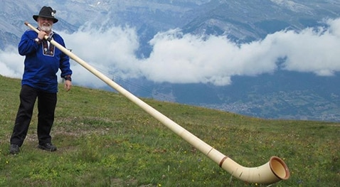 Bill Rose with his alp horn