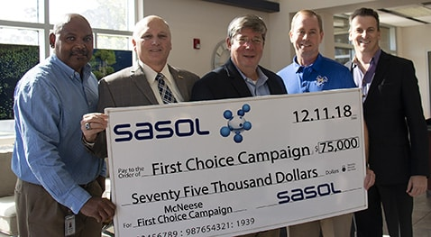 Marcus Boutte, Sasol senior manager of supply chain, McNeese President Dr. Daryl V. Burckel, Paul Hippman, Sasol vice president of operations, East Plant, Tom Tyree, Sasol senior manager of engineering and controls, and Pete Symons, Sasol manager of corporate affairs