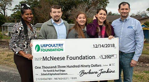 Barbara Jenkins, executive director of the USPOULTRY Foundation, agricultural sciences instructor Devin Gandy, Shae Doucet, animal science/pre-veterinary medicine senior from Beaumont, Texas, Emerald Fletcher, a natural resource conservation management senior from Lake Charles, and Dr. Chip LeMieux, director of the school and interim dean of the College of Science and Agriculture.