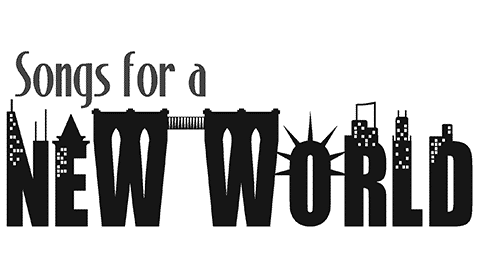 A series building and landmark silhouettes create the words New World.