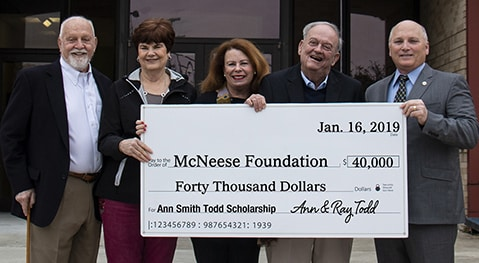 Richard H. Reid, vice president for university advancement and executive vice president of the foundation, Dr. Peggy Wolfe, dean of the College of Nursing and Health Professions, Ann and Ray Todd, and McNeese President Dr. Daryl Burckel
