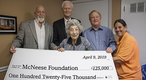 Richard H. Reid, vice president for university advancement and executive vice president for the McNeese Foundation, Bob Jones, senior vice president - investments for Wells Fargo Advisers, Katherine LaHood, executrix for the Fuller estate, David F. Huddle, estate attorney, and Rene Hulin.