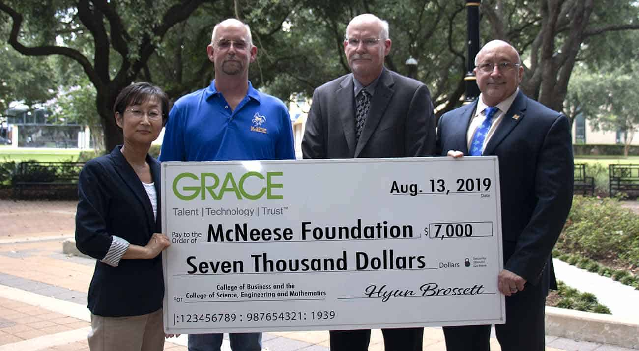 Hyun Brossett, Grace facility plant manager; Greg Hasenbein, Grace logistics and inventory manager; Dr. Tim Hall, dean of the College of Science, Engineering and Mathematics; and Dr. Mitchell Adrian, McNeese provost and vice president for academic affairs and enrollment management.