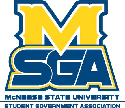 SGA logo includes the McNeese M with student government association