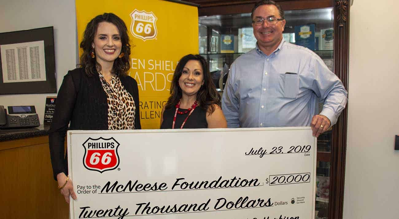 On hand for the presentation are from left: Jennifer Leger, gift planning and donor research specialist for the McNeese Foundation; Megan Hartman, Phillips 66 public relations director; and Richard G. Harbison, Phillips 66 plant manager. McNeese Photo