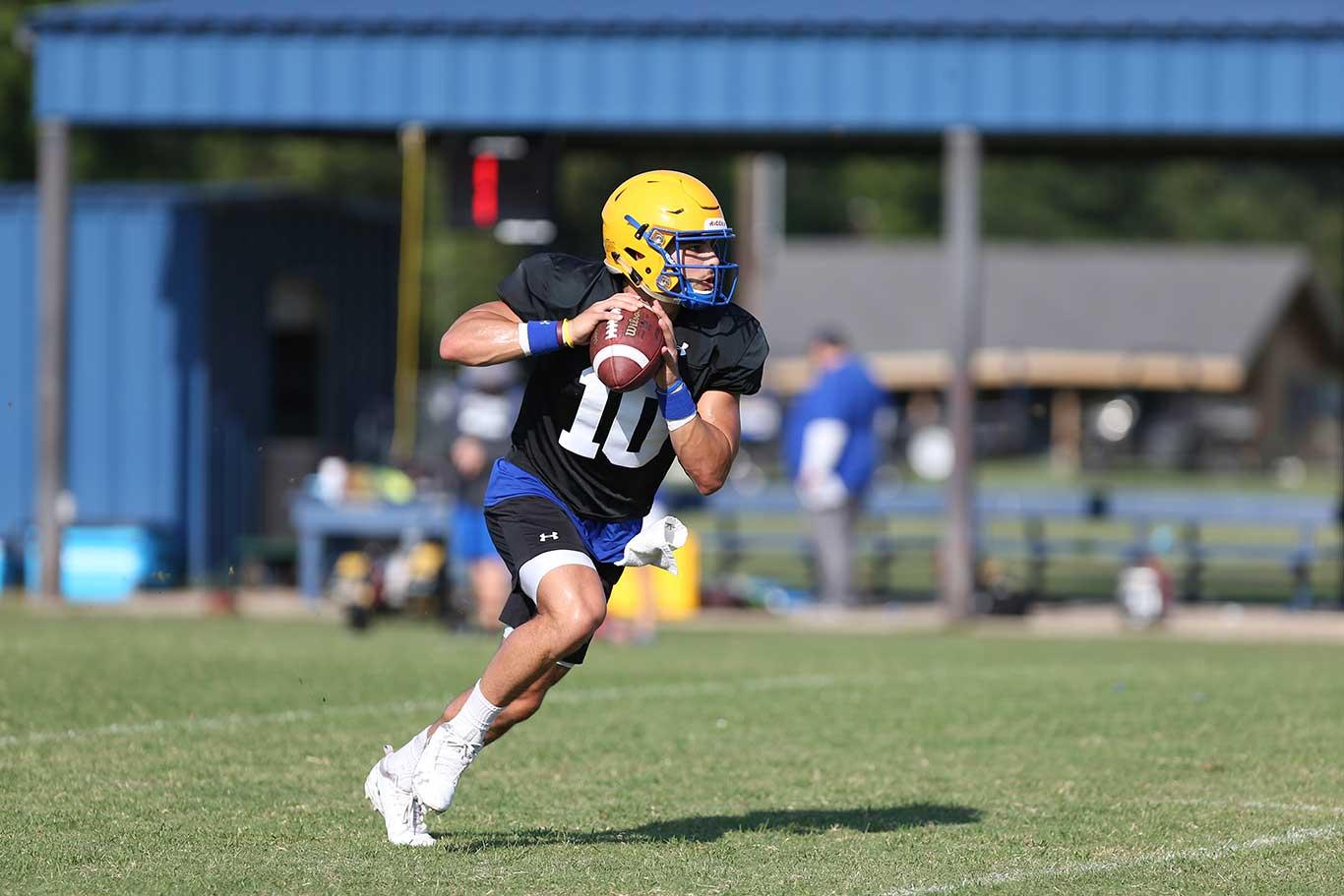 Football player prepares to throw ball