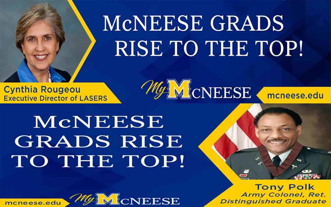 Billboard graphics with McNeese Alumni Cynthia Rougeou and Tony Polk