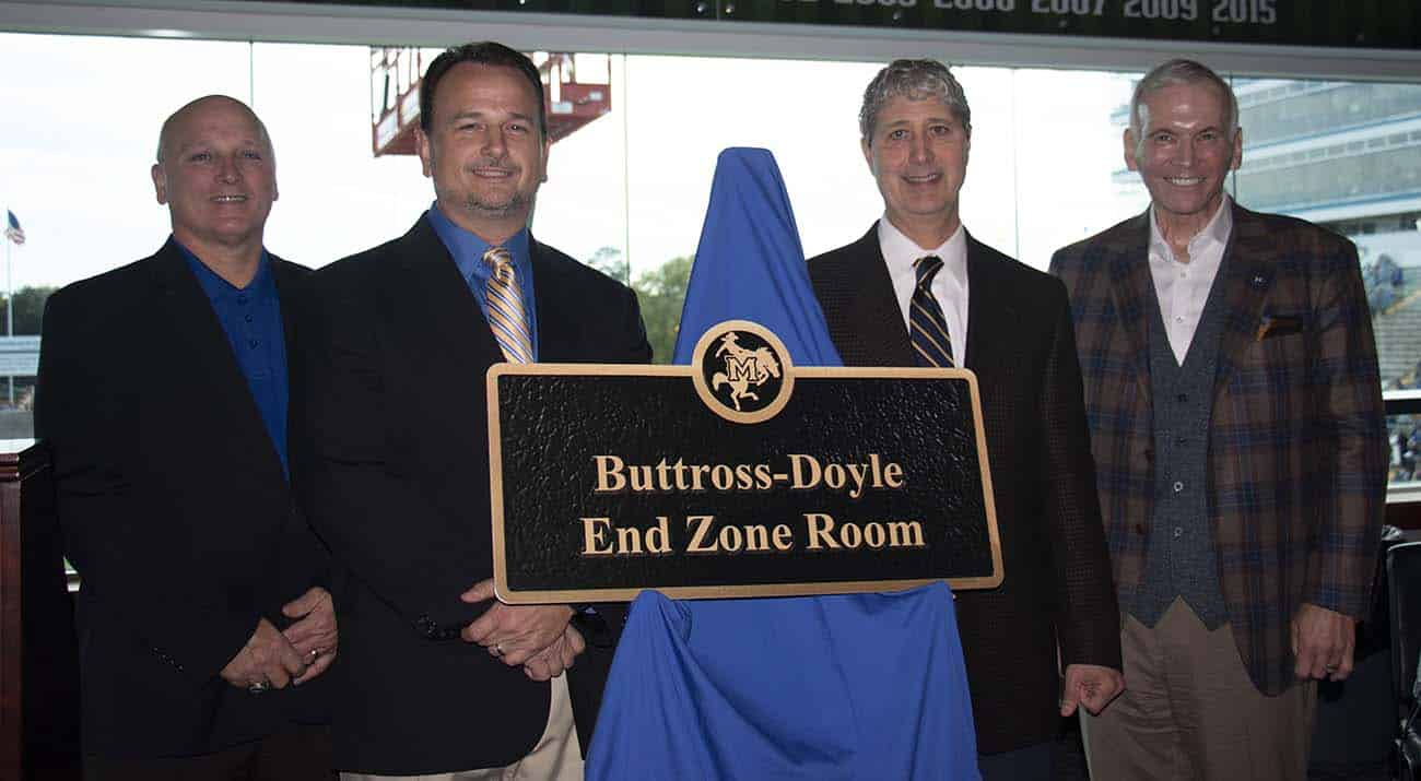 McNeese President, Dr. Daryl Burckel, Scott Doyle, Dr. David Buttross and McNeese Athletics Director, Bruce Hemphill.