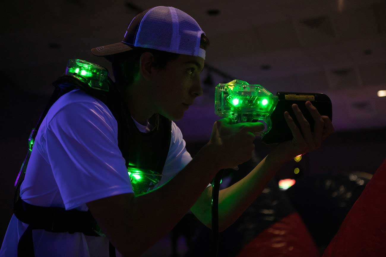 Student with laser tag gun