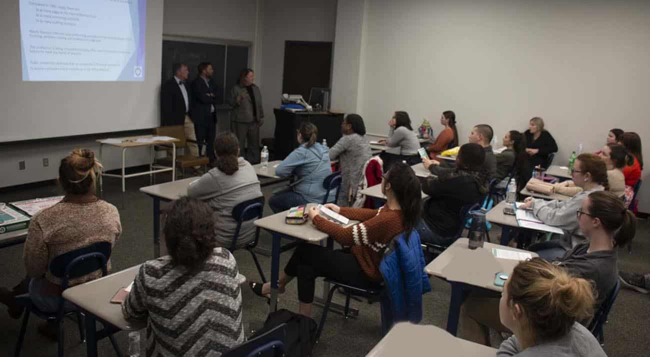McNeese students filled a business classroom to listen to Louisiana CPA experts.